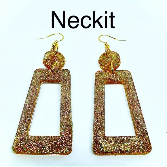 Gold Glitter Resin Dangle Earrings